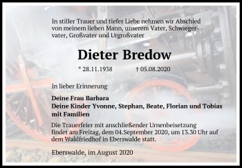 Anzeige Dieter Bredow