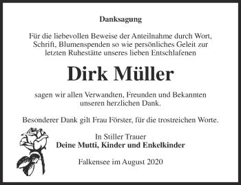 Traueranzeige Dirk Müller