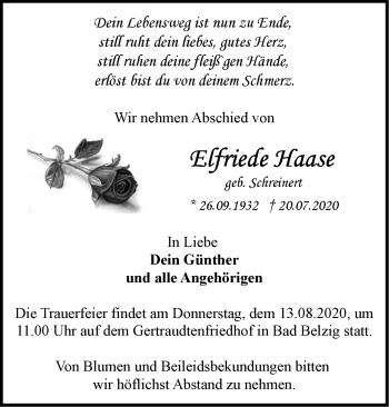 Anzeige Elfriede Haase