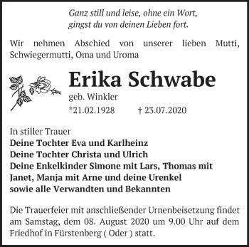 Anzeige Erika Schwabe