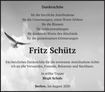 Anzeige Fritz Schutz