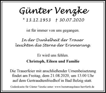 Anzeige Günter Venzke