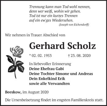Anzeige Gerhard Scholz