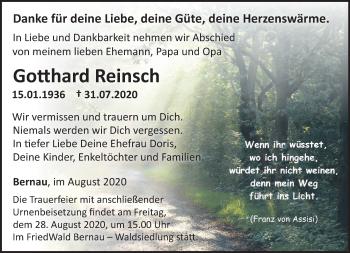 Traueranzeige Gotthard Reinsch