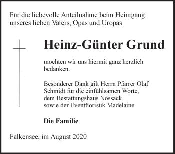 Anzeige Heinz-Günter Grund