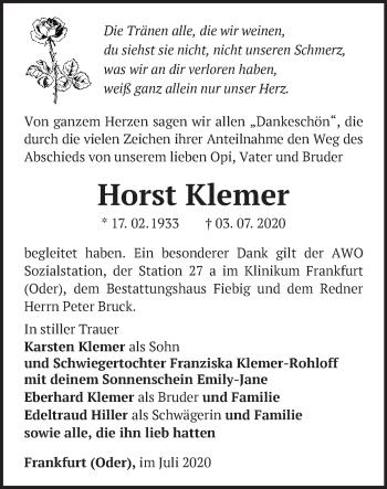 Traueranzeige Horst Klemer