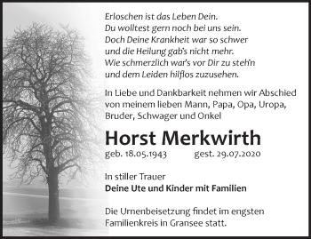 Anzeige Horst Merkwirth