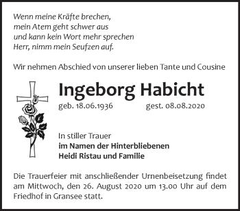 Anzeige Ingeborg Habicht