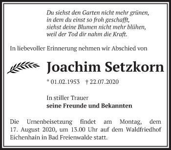 Traueranzeige Joachim Setzkorn