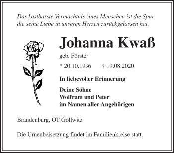 Anzeige Johanna Kwaß
