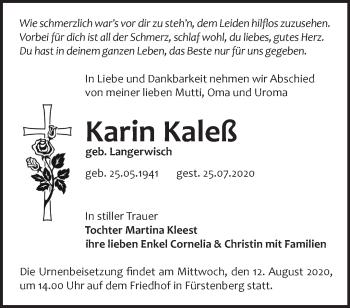 Traueranzeige Karin Kaleß