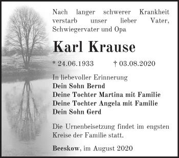 Traueranzeige Karl Krause