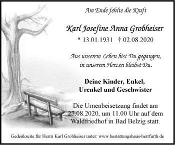 Anzeige Karl Josefine Anna Grobheiser