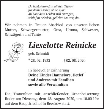 Traueranzeige Lieselotte Reinicke