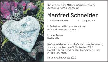 Anzeige Manfred Schneider