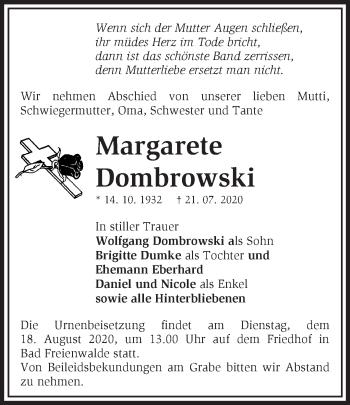 Anzeige Margarete Dombrowski