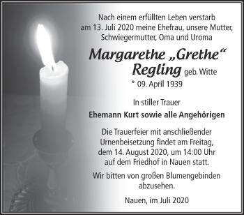 Traueranzeige Margarethe Regling