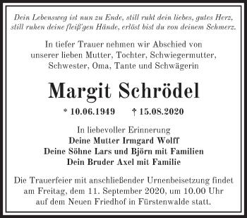 Anzeige Margit Schrödel
