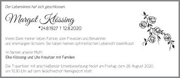 Anzeige Margot Klössing