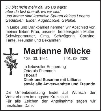 Anzeige Marianne Mücke