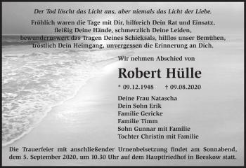 Anzeige Robert Hülle