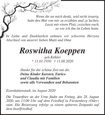 Anzeige Roswitha Koeppen
