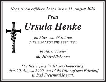 Anzeige Ursula Henke