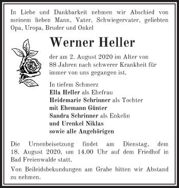 Anzeige Werner Heller