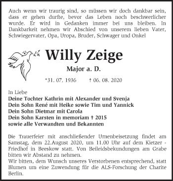 Anzeige Willy Zeige