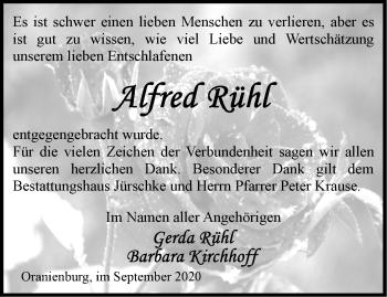 Anzeige Alfred Rühl