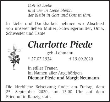 Anzeige Charlotte Piede
