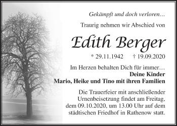 Anzeige Edith Berger