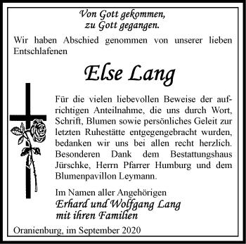 Anzeige Else Lang