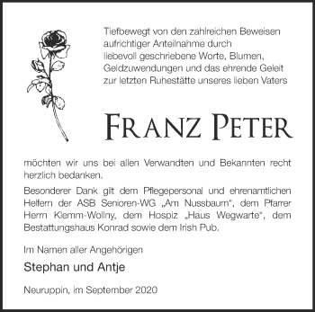 Anzeige Franz Peter