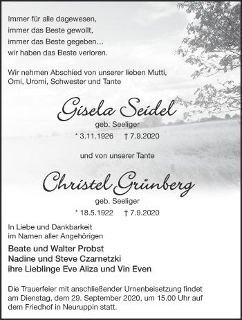 Anzeige Gisela und Christel