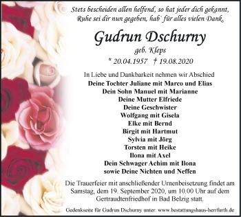 Anzeige Gudrun Dschurny