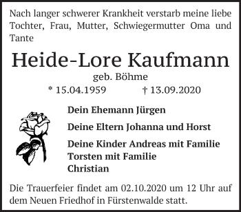 Anzeige Heide-Lore Kaufmann