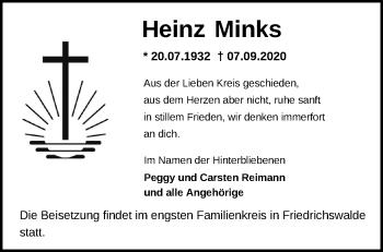 Anzeige Heinz Minks
