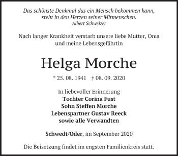 Anzeige Helga Morche