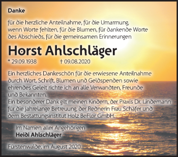 Anzeige Horst Ahlschläger