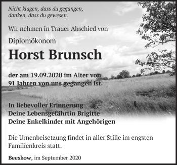Anzeige Horst Brunsch