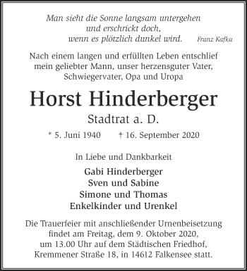 Anzeige Horst Hinderberger