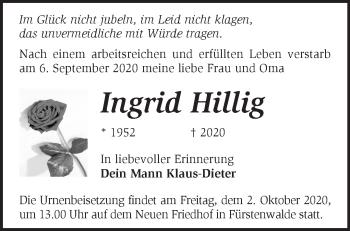 Anzeige Ingrid Hillig