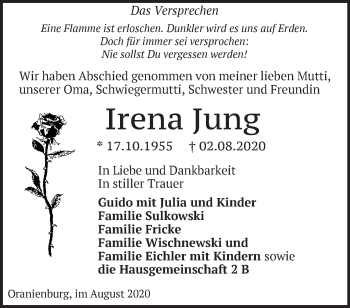 Anzeige Irena Jung