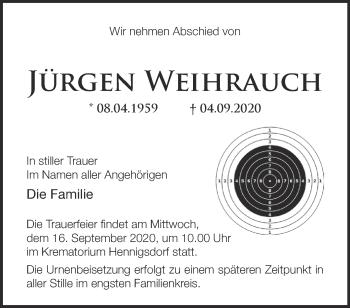 Anzeige Jürgen Weihrauch