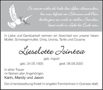 Anzeige Lieselotte Jointza