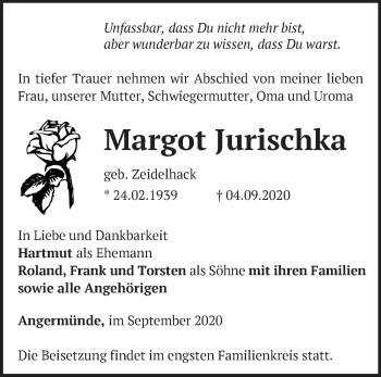 Anzeige Margot Jurischka