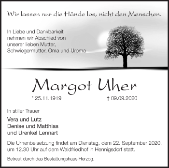 Anzeige Margot Uher