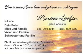 Anzeige Marita Littfin