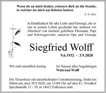 Anzeige Siegfried Wolff